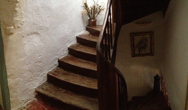 French house southern France rental Ancient carved wooden stairs stone cottage